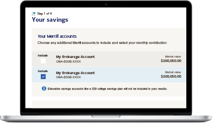 Select your savings and investment accounts for analysis