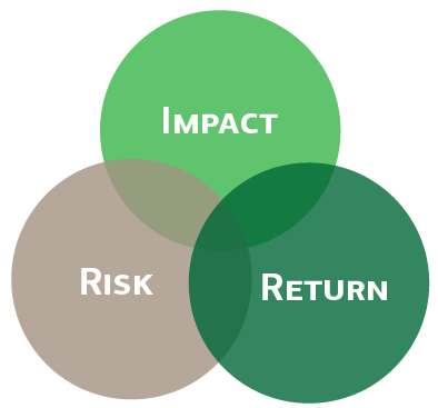 Venn diagram showing overlap between Impact, Risk and Return