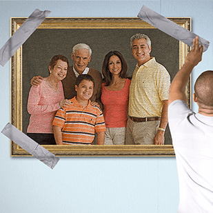 family picture held by duct tape